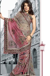 Beige Pink Printed Design Cotton Silk Saree